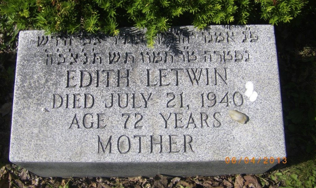 Edith Letwin's grave marker