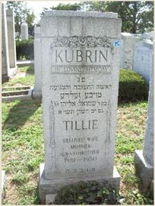 Tillie Kubrin's gravestone
