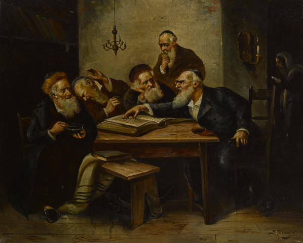 Argument of the Scholars by Bernard Trębacz (1869-1941) (http://www.bonhams.com/auctions/21388/lot/8/) [Public domain], via Wikimedia Commons